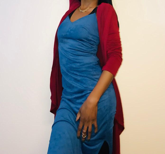 burgundy Waterfall Duster Cardigan blue suede slip dress