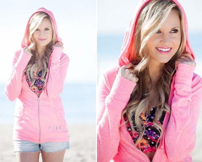 Marika F from Newport Beach California United States wears a Victorias Secret PINK hoodie sweatshirt