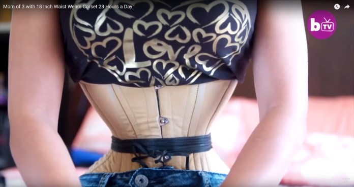 screen capture from youtube video Inside Edition Mom of 3 with 18 Inch Waist Wears Corset 23 Hours a Day