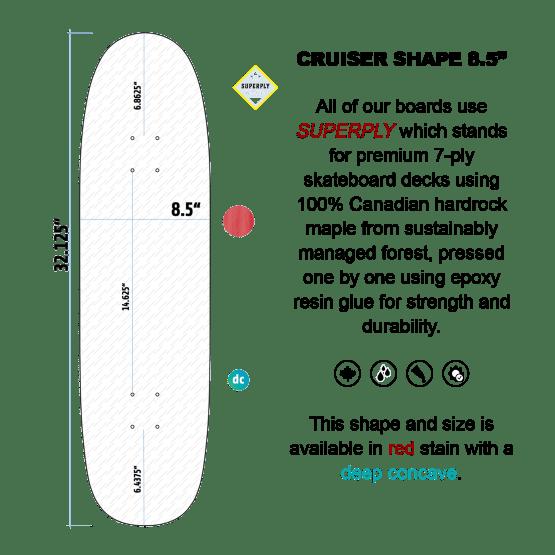 "Avenue Skateboards 8.5"" Cruiser Shape Deck"