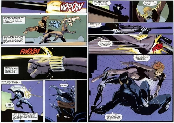 Black Widow deflects the Punisher's bullet