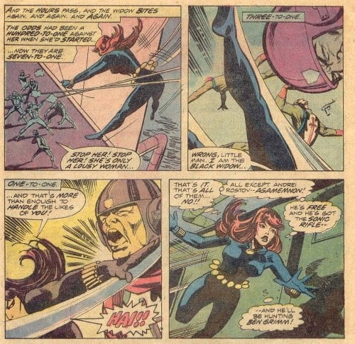 Black Widow Fighting 100 Armed Men is one of her greatest feats.