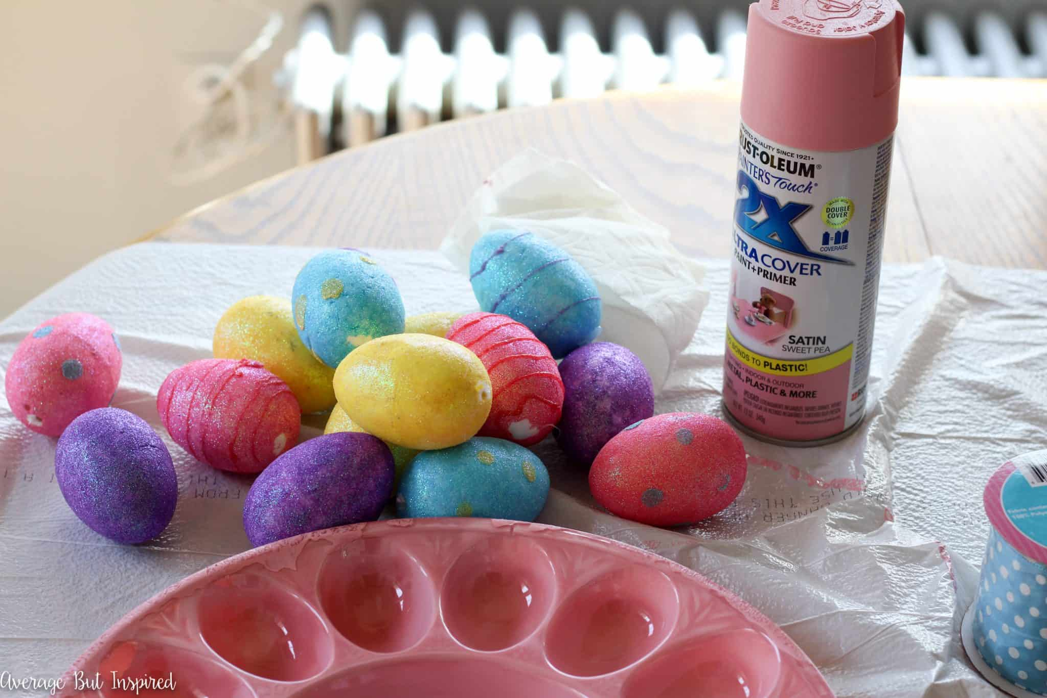 dollar tree easter chair covers andy warhol electric how to make an egg tray wreath for with store supplies turn a plastic deviled from into adorable