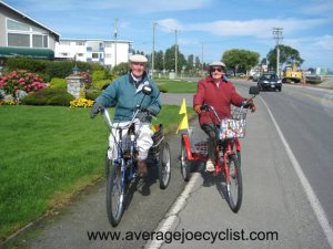 Marg and Dennis on the Lochside Trail, Vancouver Island - Average Joe Cyclist