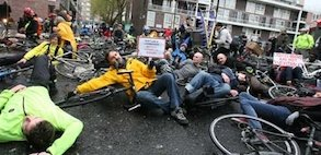Cyclists stage die-in to protest Addison Lee - traffic fatalities