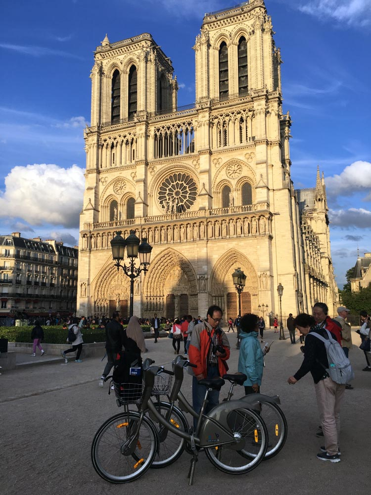 Here are two Velib bike share bikes we used in Paris to visit Notre Dame Cathedral. You can see these Velib bike share bikes wherever you go in Paris