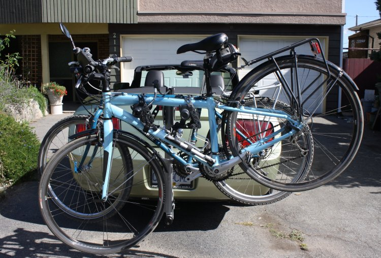 You will probably need a car to get your bikes to the Lower Seymour reserve. These are our bikes on our Thule Helium Hitch Carrier, which I reviewed here