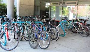 Bikes parked outside Ballard Building - Sea to River Route, Burnaby