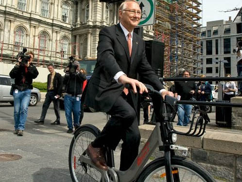Cycling in Montreal. Mayor Tremblay Bixi Montreal
