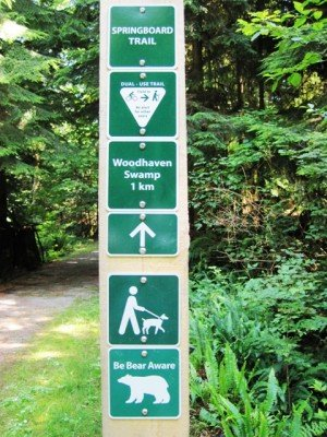 Signage on the Springboard Trail in Belcarra Park