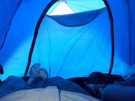 Sleeping in a tent at the halfway point! - Enbridge ride to conquer cancer