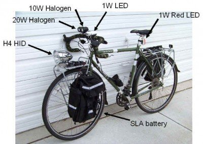 """This creative bike owner has developed an entire system of lights, which he calls """"the face of God"""""""