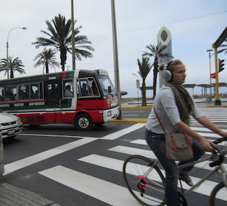 Despite the obvious dangers, some people do dare to cycle on the streets of Lima, Peru - and some of them are pretty darn styling, too ...