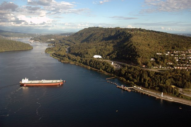 Port Moody Cycling - Great Bike Rides in and Near Vancouver, Canada. This is an aerial view of the Burrard Inlet, with Barnet Highway visible above it