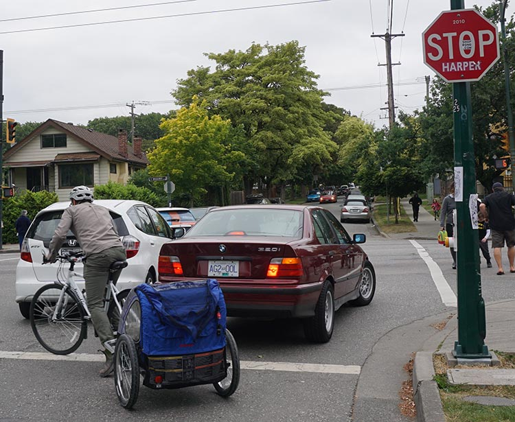 The Amazing Evolution of Vancouver Cycling Infrastructure. Here's a father I saw recently on the Lakeside Bike Route. The competition for space between bikes and cars got pretty scary in this situation. Another reminder of why we need separated bike lanes. The Amazing Evolution of Vancouver Cycling infrastructure