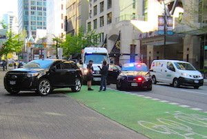 Hornby cycle route in Vancouver still blocked by police cars