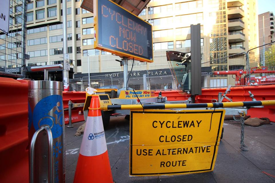 A perfectly good cycleway being demolished in Sydney, with no alternatives offered. Cyclists either have to duke it out with pedestrians in Hyde Park, or take their chances with fast-moving cars on College Street