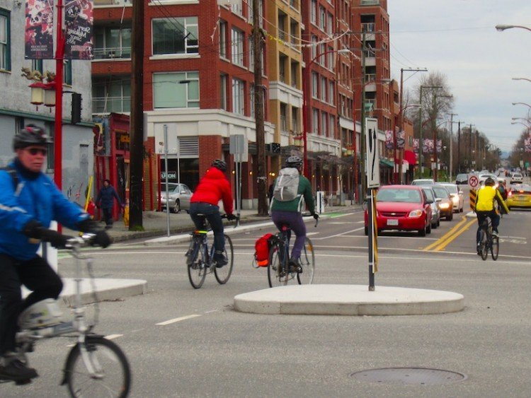 Bikes and cars compete for road space at Main and Union Vancouver - average Joe Cyclist