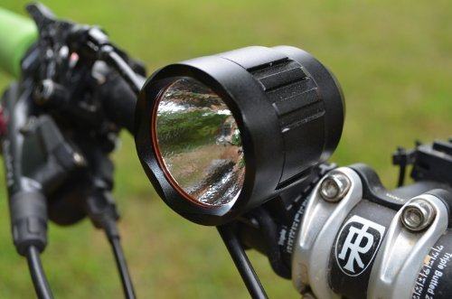 Lumintrail bike light on handlebars