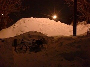no more active transportation - snow mound on cycle path