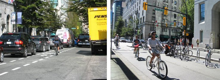 Hornby Street before and after it got separated bike lanes - which looks safer?