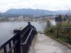 Vancouver cycling - Stanley Park - At Prospect Point, you can lock up your bike and walk down to the viewing platform