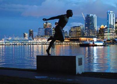 Harry Jerome statue on the Stanley Park Seawall Bike Trail