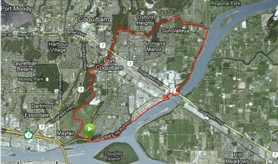 Map of the Poco Trail in Port Coquitlam, BC. How to have a fun cycling vacation in Vancouver
