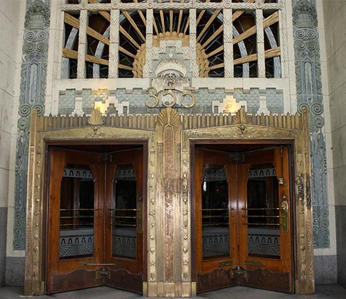 Vancouver Cycling - The Marine Building at 355 Burrard is a unique and spectacular building festooned with art deco details - you may recognize it, as many TV shows and movies have been shot here