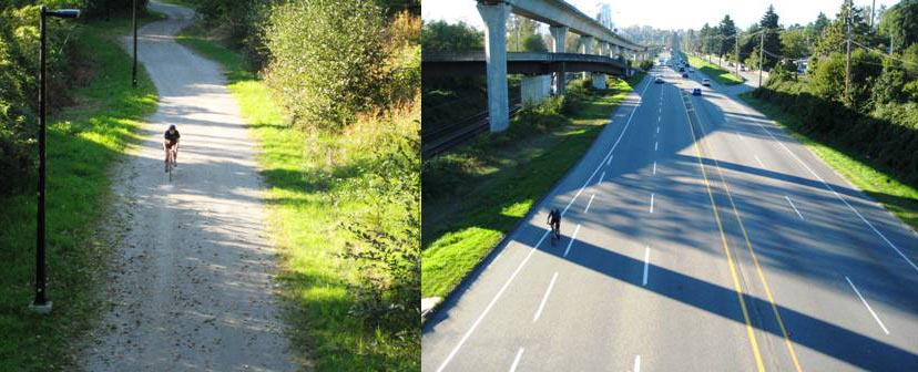 Parts of the CVG (Central Valley Greenway) are wonderful. For example, this shot shows two ways to travel through Burnaby. Left is the Central Valley Greenway, right is Lougheed Highway (which is often full of fast-moving traffic). These photos show parallel segments of Burnaby, separated by just a few hundred meters. But one is a cycling paradise, and the other is a cycling hell. I know - I was almost killed at right about that point on Lougheed by an aggressive motorist (I was in the bike lane at the time, but he thought it would be fun to scare me)