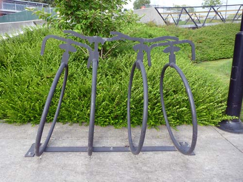 An ornamental bike rack near Sperling Burnaby Lake Skytrain along the Central Valley Greenway. No one ever locks their bikes here because there is nothing to do here, but it looks good