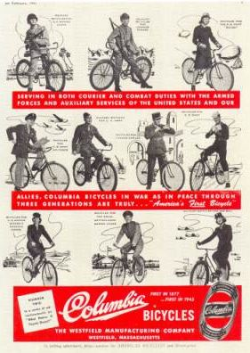 Columbia Bicycles Advert During the War. Bikes in history - Memorial Day