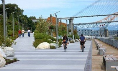 New West Pier Park at the end of the Central Valley Greenway is fun for walking and cycling