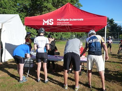 Almost time to the MS Bike Ride - the registration tables.