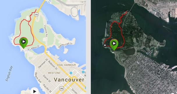 """Map of Prospect Point trail in Stanley Park - the route on the left is the """"correct"""" route. The route on the right is me getting lost on the way back. Both routes are great fun!"""
