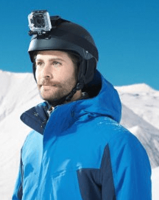 With the helmet strap you can record cycling, skiing, and other active sports on your GoPro Hero
