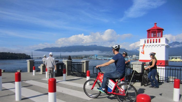 One of the many scenic spots on the Stanley Park Seawall - part of Vancouver cyling