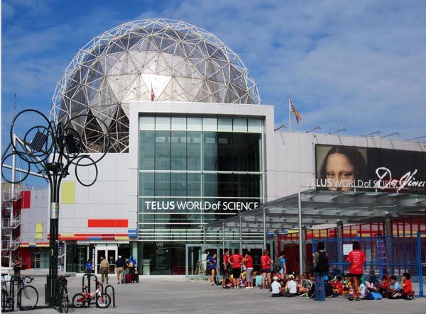 Science World is a great stop along the Seaside Bike Route. Stop to take in a movie at the OMNIMAX - right inside the golf ball!