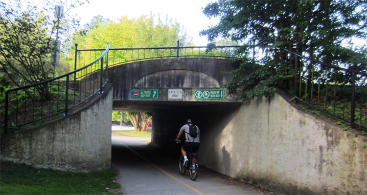 "Go through the tunnel that says ""Cyclists ONLY""! Seaside Bike Route Vancouver"
