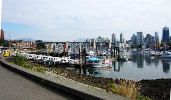 The fish market is right on the Seaside Bike Route, Vancouver