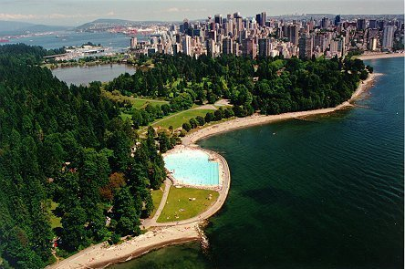 One of the most beautiful outdoor pools in the world at Second Beach, alongside the Stanley Park Seawall Bike Trail. Seaside Bike Route Vancouver