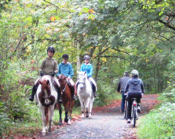 Be extra careful as you pass horses on the Galloping Goose Trail - they scare easily