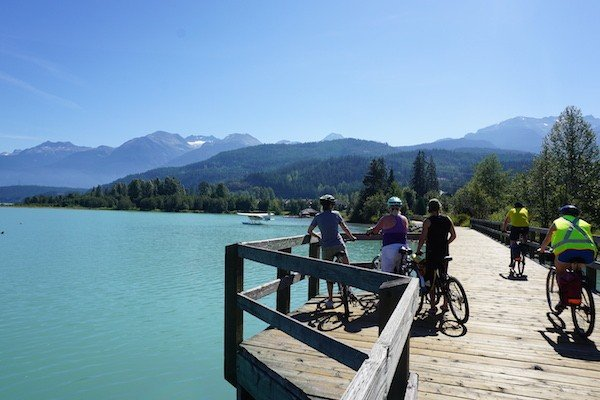 The boardwalk bridge at Green Lake is one of the most beautiful parts of the Whistler Valley Trail