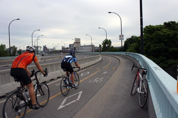 Cycling in Montreal. Heading back over towards Montreal - Montreal cycling