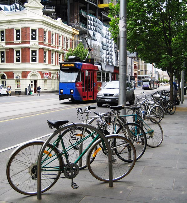 Bikes are parked everywhere in Melbourne