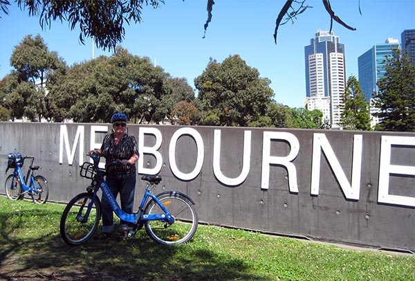 We saw Melbourne from our saddles on Melbourne Bike Share bikes - here's Maggie outside the Melbourne Museum