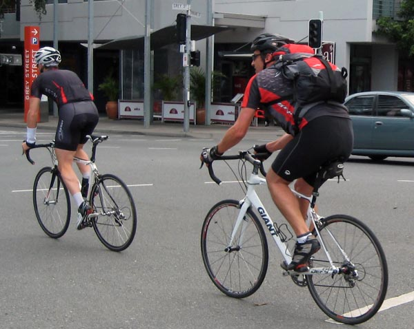 We had seen a lot of cyclists since we arrived in Brisbane, largely of the steel-muscled, greyhound-lean, Lycra-clad, racing-bike-riding kind – and all male.