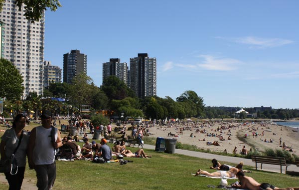 The Seaside Bike Route runs past English Bay beach
