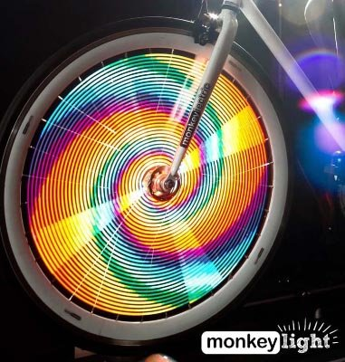 7 Gifts for women cyclists. Monkeylectric lights are safe, FUN, durable, versatile, and cheap.