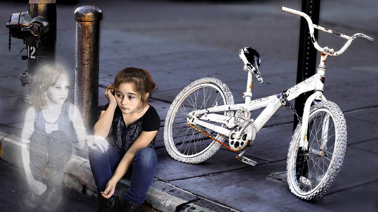 Some of the most haunting images in Don't Forget Me: Ghost Bikes are of ghostly children next to ghost bikes.